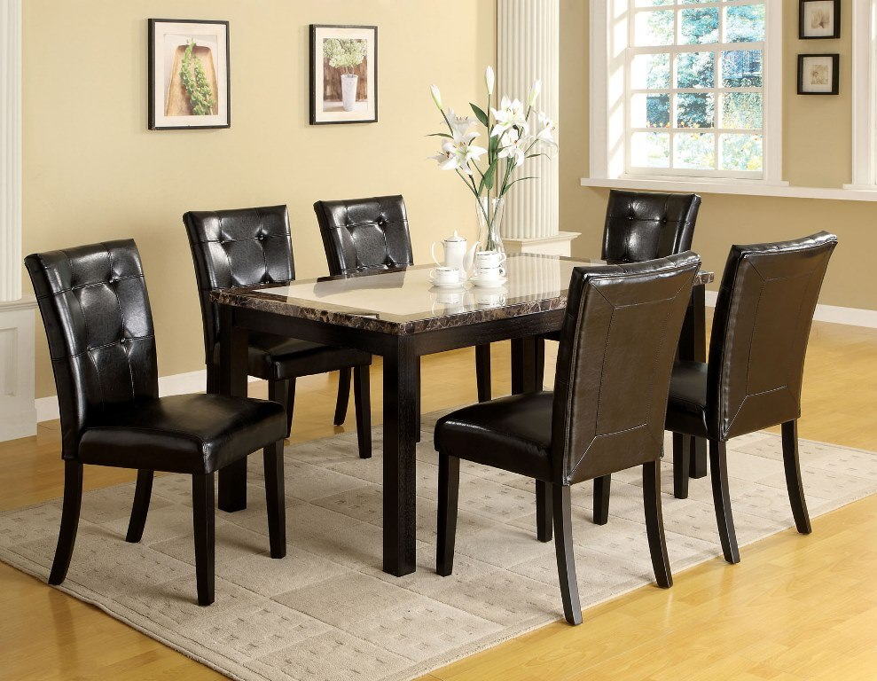 Atlas i black 60 inch marble top dining table set shop for Dining room tables 60 inches