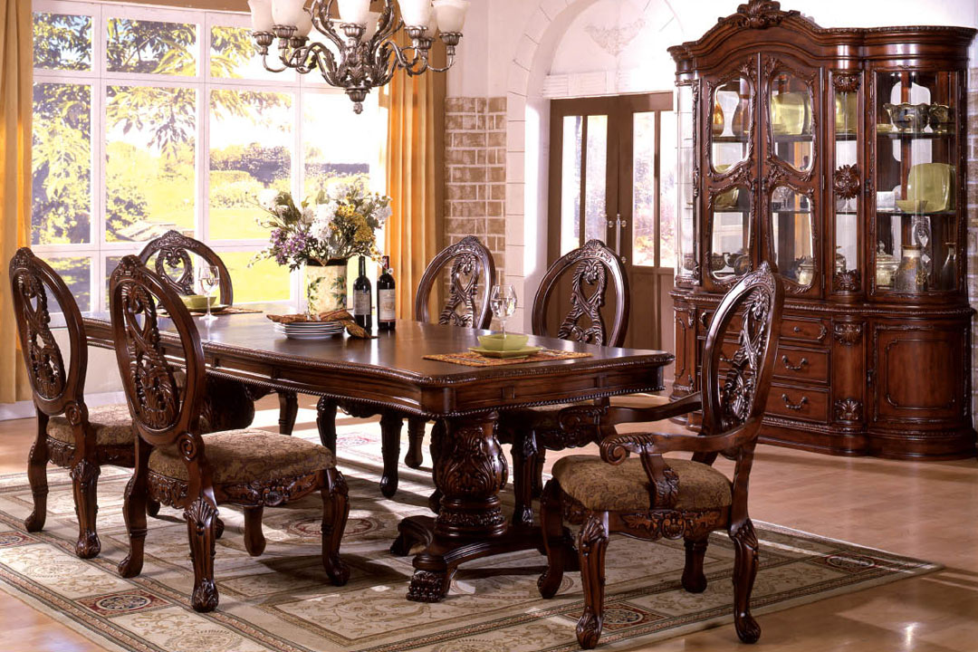 Tuscany traditional antique cherry dining table set shop for Antique dining room ideas