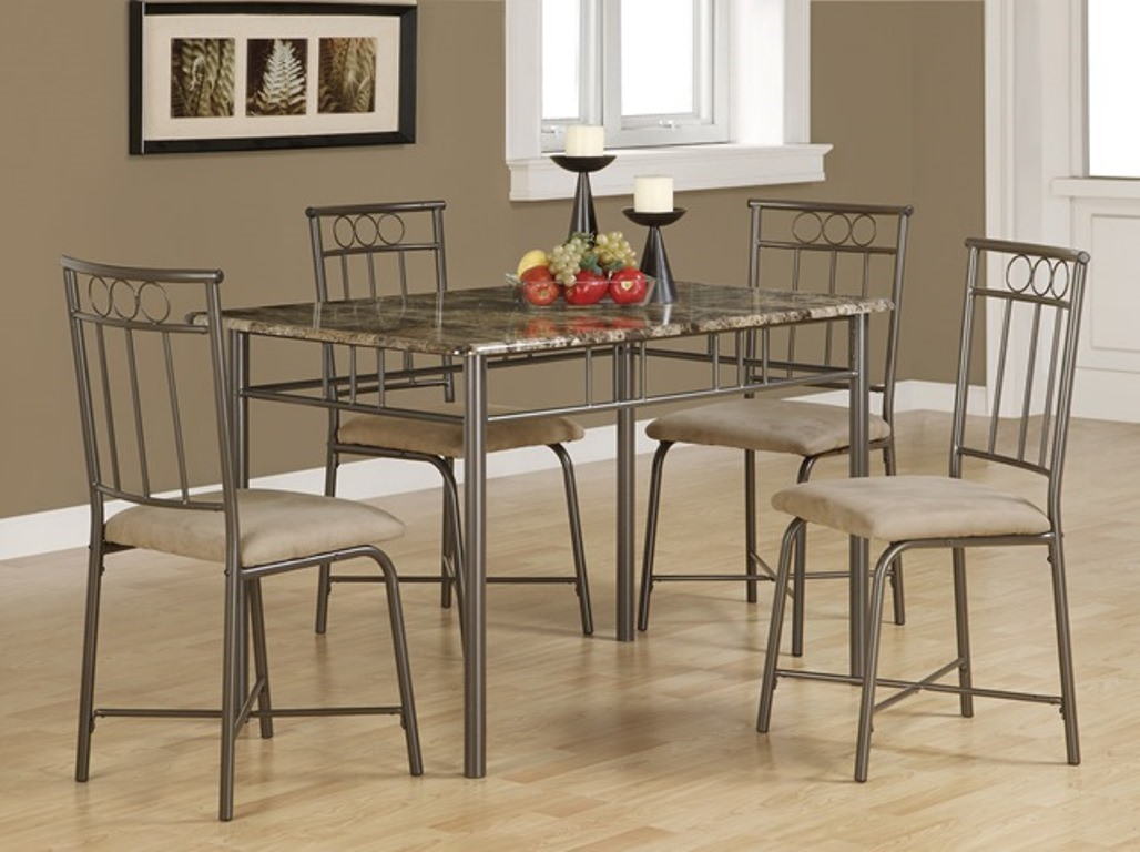 03c6ec740a 5Pcs Faux Marble Top Light Gray Frame Dining Table Set - Shop for ...