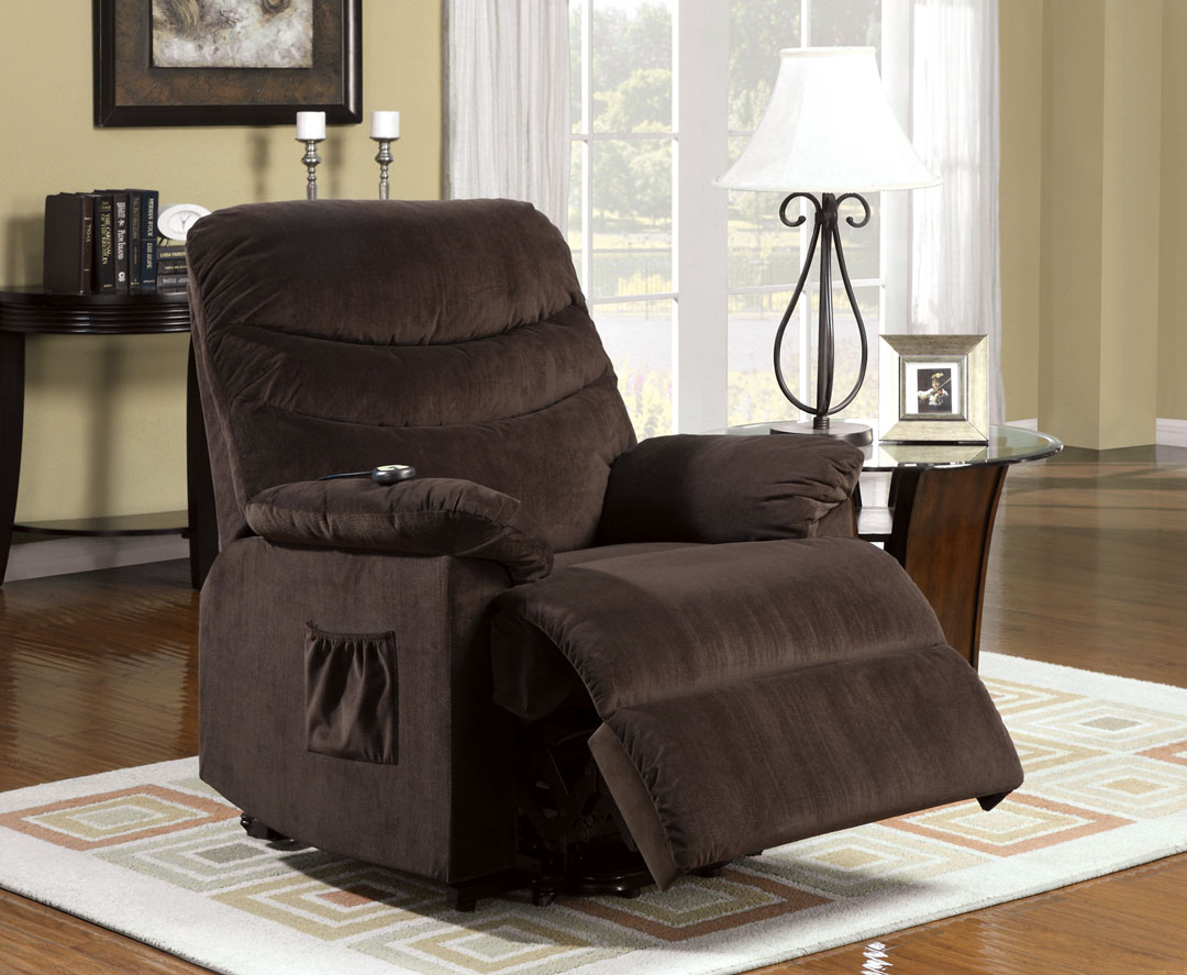 perth cocoa brown fabric power lift recliner