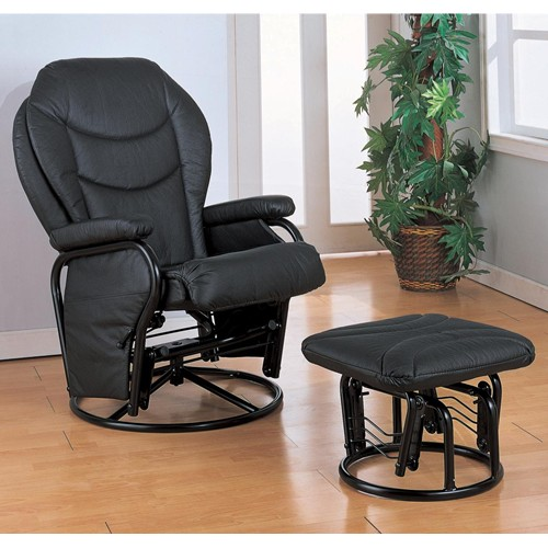 Exceptionnel Black Glider Chair With Ottoman