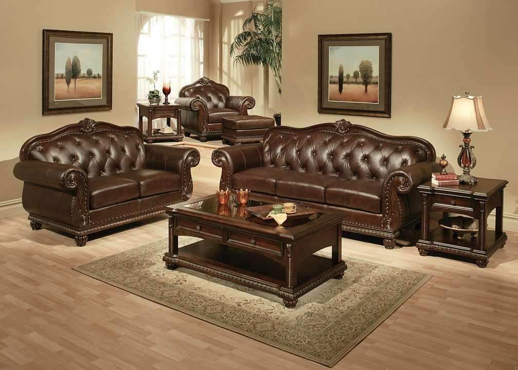 Anondale 2Pcs Cherry Bonded Leather Sofa Set