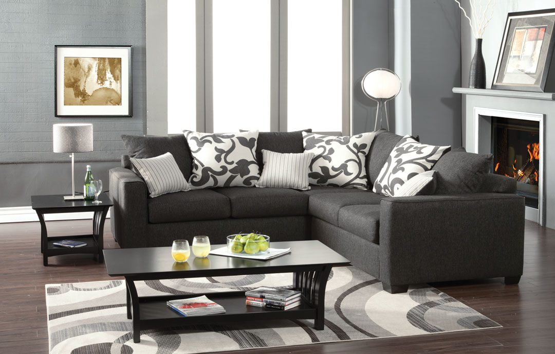 Cranbrook charcoal fabric sectional set shop for for Charcoal sofa living room