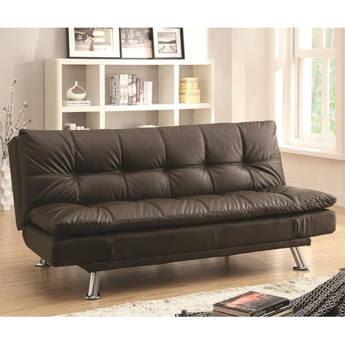 Groovy Dark Brown Futon Sofa Bed With Chrome Legs Creativecarmelina Interior Chair Design Creativecarmelinacom