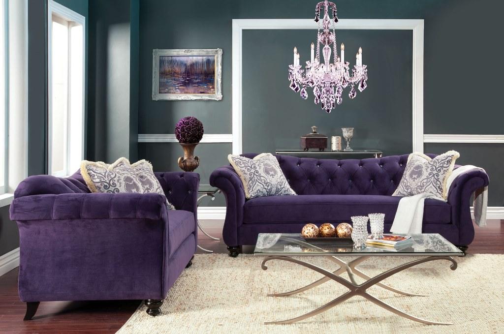 Antoinette Traditional Purple Premium Fabric 2Pcs Sofa Set