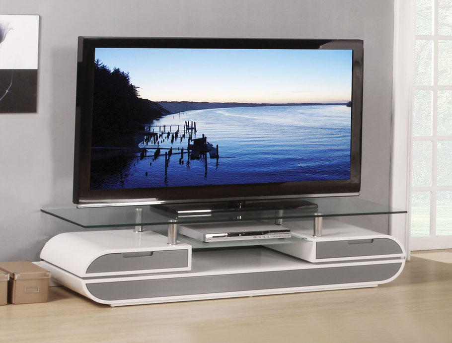 Lainey White And Gray Tv Stand With 12mm Tempered Glass Top Shop