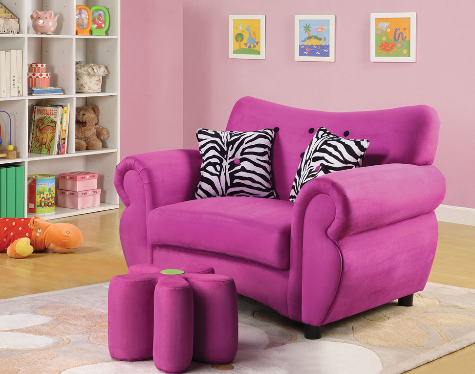 Lucy Pink Microfiber Youth Chair With Ottoman - Shop for Affordable ...